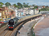 West Country Class No.34046  'Braunton' powers 1Z27 'The Torbay Express'  through Dawlish, working from  Bristol Temple Meads to Kingswear.<br /> <br /> 13 July 2014