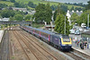FGW HST power car 43036  leads into Totnes with 1A85 the 1100 from Penzance to London Paddington.<br /> <br /> 12 July 2014
