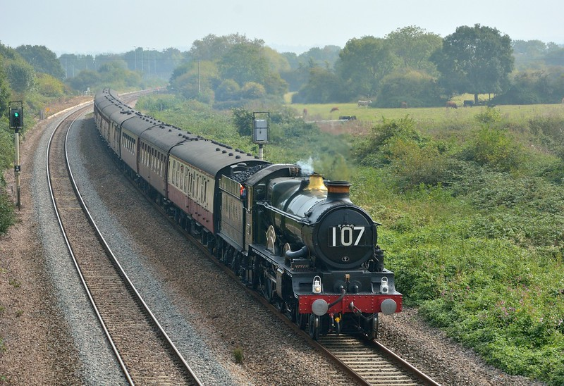 5029 Nunney Castle begins to slow for its approach into Taunton with 1Z82 The Torbay Express  from Clapham Junction to Kingswear.<br /> <br /> 16 September 2014