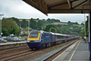 1A86  the 1130 FGW service from Newquay to London Paddington sweeps through Totnes with power car 43132 leading.<br /> <br /> 12 July 2014