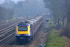 A First Great Western HST races through a misty Lower Basildon with 1C15 the 13.00  Paddington to Bristol Temple Meads service.  12 March 2014