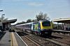 Passing Hersham, Power car 43146 ' Building A Greater West' is on the rear of  the diverted  1V75 14.10  from  Waterloo to Penzance<br /> <br /> 12 April 2015