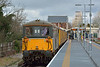 73128  tnt 73136  sits in the platform at Hampton Court ready to return test train 1Q24  to Hither Green.<br /> <br /> 25 February 2015