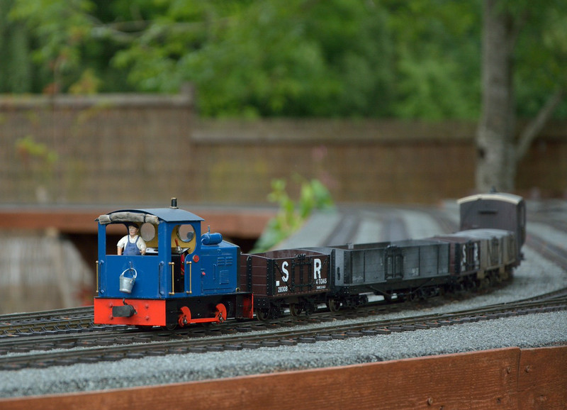 This tiny 0-4-0 loco was running on the garden railway layout at Buckfastleigh.<br /> <br /> 22 July 2014