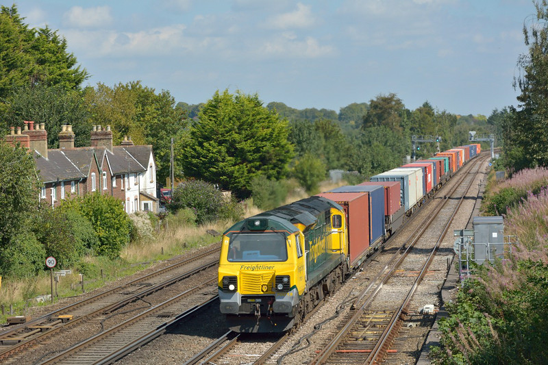 70018 was audible long before it roared through Worting with  4O54 Leeds - Southampton freightliner.<br /> <br /> 2 September 2014