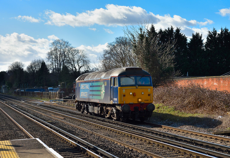 DRS Class 57 No.57008 runs light engine through West Byfleet as  0Z68 from Eastleigh Arlington to Willesden Brent<br /> <br /> 2 March 2015