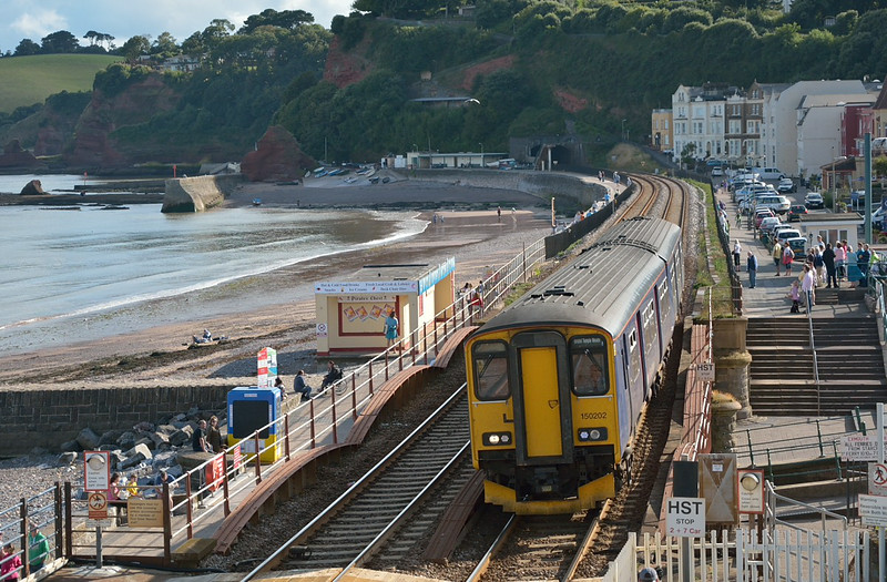 Catching a bit of early evening sun Sprinter 150202 arrives at Dawlish with 2C56  the 1440 service from  Penzance to Bristol Temple Meads