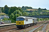 56103 and 56312 pass Totnes on a crew training run, working from 0Z57 from Plymouth to Washwood Heath.<br /> <br /> 17 July 2014