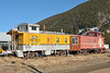 What a great home extension! Rio Grande (Standard Gauge) caboose 01511 coupled with former ATSF Caboose 999001 privately owned, in Silverton Colorado  12 November 2013