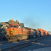 A trio of BNSF (C44-9W) Nos. 5343 / 5255 / 4560 roar through Flagstaff with a westbound freight.  17 November 2013