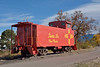 Santa Fe Southern Railway caboose.<br /> Parked at the intersection of Cerrillos Road and St. Francis Drive <br /> <br /> Santa Fe, New Mexico