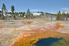 It's a long walk down to Morning Glory pool from the Old Faithful Lodge but this pretty, unnamed, pool and water run - off made the walk worthwhile <br /> Yellowstone NP.