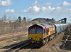 66133 thunders through Hatfield with  6H62 loaded Biomass hoppers from Immingham  to Drax Power Station<br /> <br /> 27 March 2015