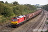 140908-047     DB Schenker class 60 no 60011 passes Hasland with 6E08, 13.03 Wolverhampton steel terminal to Immingham sorting sidings.