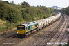 140908-041     Freightliner class 66/6 no 66614 is captured passing Hasland, powering 6M91, 11.13 Theale to Hope, Earles sidings, empty cement tanks.