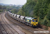 140908-033     Freightliner class 66/5 no 66520 is seen passing Hasland, Chesterfield, powering train 6M51, 12.23 Hull, Kingston terminal to Rugeley power station, loaded coal hoppers.