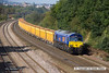 140908-023     GB Railfreight class 66/7 no 66750 passes Hasland, powering train 6M23, 12.57 Doncaster up decoy to Mountsorrel with a rake of bogie ballast hoppers. This is now the only member of the class still in Beacon Rail bright blue, the other, 66752 has beenrecently repainted in standard GBRf livery after being damaged in a fire at Roberts Road fuelling point.