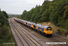 140908-059     GB Railfreight locomotive convoy 0X66, 10.45 Newport docks to Doncaster, Roberts Road is captured heading away from the camera as it passes Hasland, Chesterfield on Monday 8th September 2014. Class 66/7 no 66753 is seen hauling nine new classmates no's (in order, from the front) 66757, 66758, 66765, 66759, 66760, 66762, 66761, 66764 & 66763. The four at the rear, no's 66761 - 66764 were deposited at Barrow Hill en-route to Doncaster.