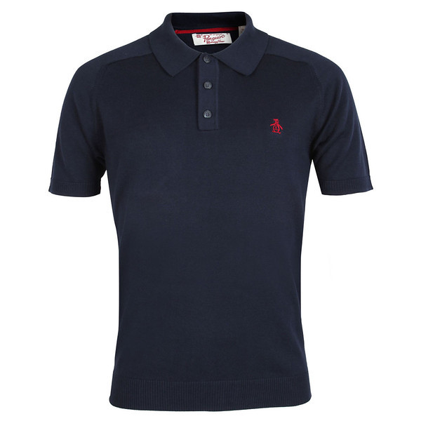 0001 Original Penguin Black Camford Short Knitted Polo