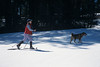 MR, Model Released, Woman Snowshoeing with dog, La Plata County, Colorado, USA, North America