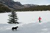 Model Released, Female Snowshoer, Marilyn Leftwich with her Dog, Rafiki, Haviland Lake, San Juan National Forest, Durango, Colorado, USA, North America