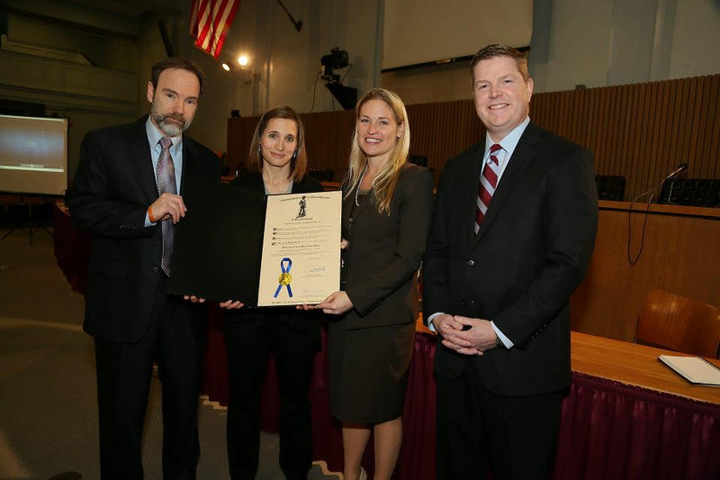 Joel Feldman, Casey's father (L), Emily Stein, PSA video victim's daughter, Governor Deval Patrick's office representative, and Tim Kelleher, Pres. of MATA after the press conference displaying the Governor's proclamation