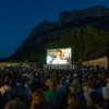 The outdoor cinema arena at Tavolara Island, full of crowd during the 5th evening of the festival.