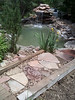 The steps that Grandma & I installed. Used one of the beams to support the fill and rocks on the pond side.
