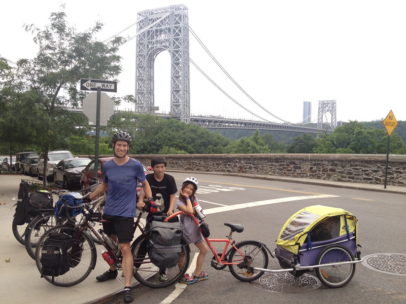 Charles, Sho and Saya Scott as they're about to set off on an adventure from NYC to Niagara Falls in summer 2014.