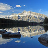 Rundle Mountain from 2 Jack Lake