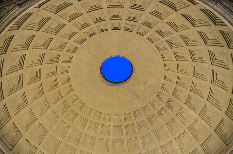 Looking up inside The Pantheon