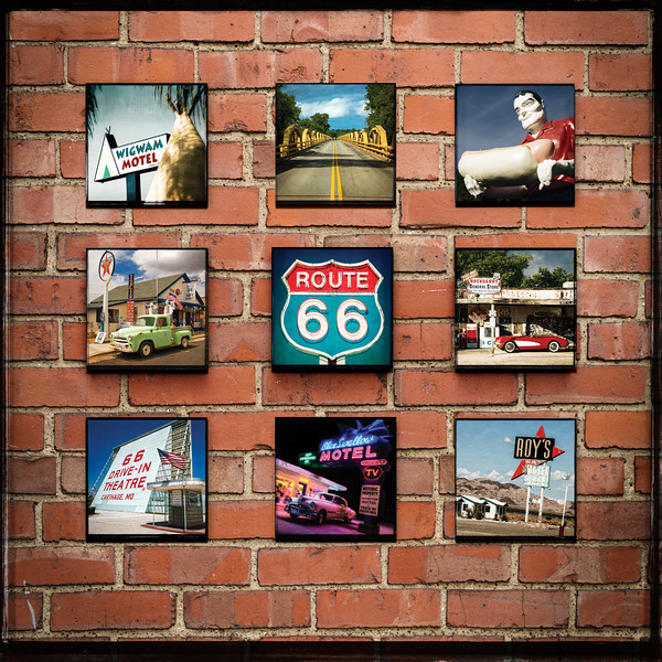 Icons-of-Route-66-Squares- Wood-Panel-Collage-Prints-For_sale