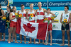 World Rowing Under 23 Championships 2014, Varese, Italy.<br /> <br /> Victory ceremony<br /> M4+