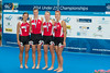 World Rowing Under 23 Championships 2014, Varese, Italy.<br /> <br /> Victory ceremony<br /> W4X
