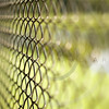 Chainlink fence with grass and water in background