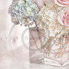 Peach Rose Blue Hydrangea Glass Vase Bokeh Background