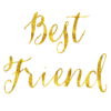 Best Friend Gold Faux Foil Metallic Glitter Quote Isolated White Background