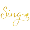 Sing With Songbird Gold Faux Foil Metallic Background Texture on White