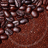 coffee grounds and whole beans background