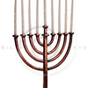 Beautiful unlit hanukkah menorah on white table.