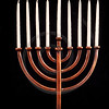 Beautiful unlit hanukkah menorah on black velvet.