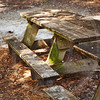 old wooden picnic table