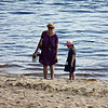 Mother & daughter on the shore of the Volga River.