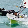 When turning at the windward mark the boat should be heeled to windward. Do not pull hard on the tiller.