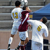 College of the Canyons' Emmanuel Padron (13) and Mt. SAC's Edgar Padilla (12) both leap for a header during a California Community College Athletic Association Championship soccer match between the College of the Canyons Cougars and the visiting Mt. San Antonio College Mounties on December 5, 2010 in Santa Clarita, CA.  The Mounties won 4-0. (SGVN/Correspondent photo by David Thomas/SPORTS)