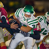 Wildcats' Justin De La Nuez (32) carries the ball during a football game between the La Canada High School Spartans and the visiting Monrovia High School Wildcats in La Canada, CA on November 6, 2009.  (STAR-NEWS/Correspondent photo by David Thomas/SPORTS)
