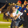 Drill Team dancers Nidia Garcia and Gabby Aguirre preform before a football game between the San Gabriel High School Matadors and the visiting Alhambra High School Moors on October 30, 2009  in San Gabriel, CA.  (SGVN/Correspondent photo by David Thomas/SPORTS)