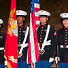 Members of the United States Marine Corps Color Guard (L-R) LCPL Travis Bui, Sgt. Phillip Darrett, LCPL Jorge Diaz and LCPL Sanford Wong prepare to present the colors before a football game between the San Gabriel High School Matadors and the visiting Alhambra High School Moors on October 30, 2009  in San Gabriel, CA.  (SGVN/Correspondent photo by David Thomas/SPORTS)