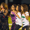 Matadors' Drill Team members (L-R) Amalia Escobar, Claudia Almaraz, Valentina Villa, Daisy Penacoza, Marlene Vizcaino, Gabby Aguirre and Nidia Garcia perform before a football game between the San Gabriel High School Matadors and the visiting Alhambra High School Moors on October 30, 2009  in San Gabriel, CA.  (SGVN/Correspondent photo by David Thomas/SPORTS)