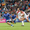 July 27, 2014 - Rugby Sevens - Samoa vs. England in the Quarter finals during the Rugby Sevens at the 20th Commonwealth Games in Glasgow, Scotland.<br /> <br /> Marcus Watson (#9) of England running after receiving a pass with Samoa Toloa (#12) of Samoa preparing to block him.<br /> <br /> Final score of the game was Samoa 15 and England 14.<br /> <br /> If you have any questions don't hesitate to reach out to us!<br /> <br /> Thanks!<br /> <br /> Photos by Al Milligan, Al Milligan Images, 2014